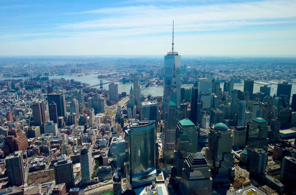 One World Trade Center in der Luftaufnahme